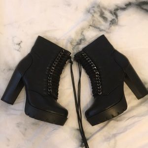 Nasty Gal Heeled Lace-up Combat Boots
